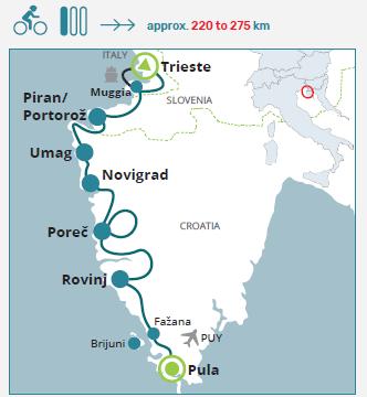 Recorrido de Istria en bicicleta