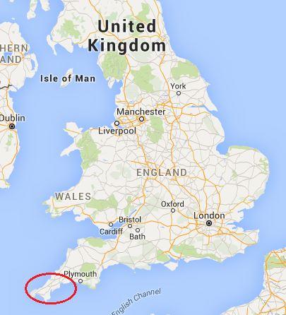 ubicación península de cornwall en inglaterra